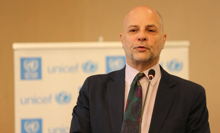 The Director of UNRWA in Lebanon, Claudio Cordone, delivering a speech during the launch of the UNRWA Youth Strategic framework and the UNICEF Adolescents and Youth Assessment Report for Palestine Refugees in Lebanon © 2018 Photo by Ramzi Haidar