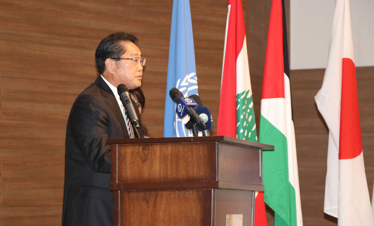 H.E Japanese Ambassador Mr. Yamaguchi delivers a speech during a ceremony in Saida, Lebanon. UNRWA thanks the Government of Japan for its support for the emergency needs of Ein El Hilweh, including shelter rehabilitation, following violence that occurred place in 2017. ©2018 Photo for UNRWA by Ahmad Mahmoud.