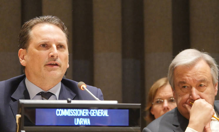 UNRWA Commissioner-General Pierre Krähenbühl thanked Member States for their support, particularly those who had made additional contributions already in 2018.  Pledging Conference for UNRWA held in New York on 25 June 2018. © 2018 Photo by the United Nations