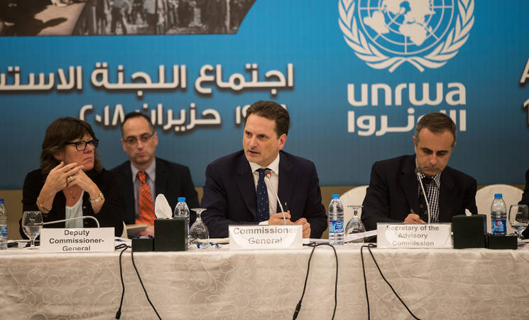 UNRWA Commissioner-General Pierre Krähenbühl (centre) addresses representatives of host and donor countries at the opening session of UNRWA Advisory Commission held in Jordan on 18 June 2018. © 2018 UNRWA Photo by Marwan Baghdadi