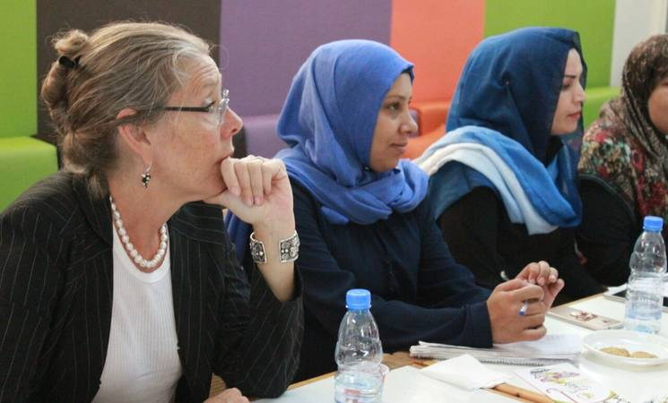 Acting United Nations Special Coordinator for Lebanon, Pernille Dahler Kardel, and UNRWA Director in Lebanon, Claudio Cordone, meeting women in Rashidieh Palestine Refugee Camp, Southern Lebanon, ©2018 UNRWA Photo by Abeer Nouf
