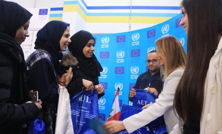 Students in Lebanon attend the 7th EU-UNRWA Academic Fair where they were introduced to different vocational and academic programmes. © 2018 UNRWA Photo by Ahmad Mahmoud