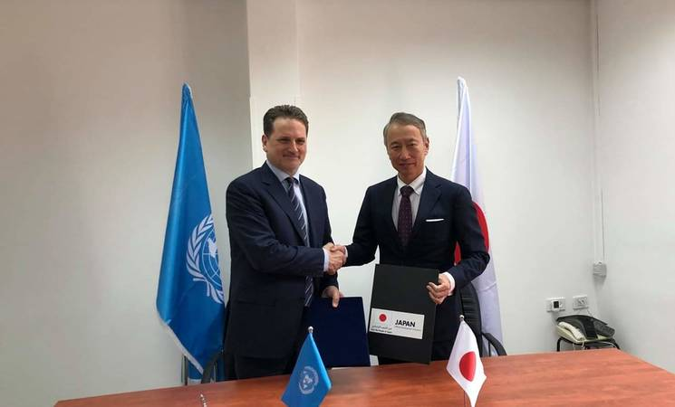 The Japanese Ambassador for Palestinian Affairs and Representative of Japan to Palestine, H.E. Mr. Takeshi Okubo, and UNRWA Commissioner-General, Mr. Pierre Krähenbühl pictured here at the signing ceremony. © UNRWA 2019 Photo