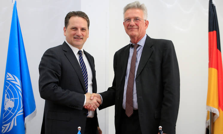 UNRWA Commissioner-General  Pierre Krähenbühl (left) and Head of the German Representative Office in Palestine, Christian Clages (right) at UNRWA offices in East Jerusalem. © 2019 UNRWA Photo by Marwan Baghdadi