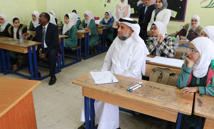 The Humanitarian Envoy of the United Nations Secretary-General, Dr. Ahmed Al Meraikhi, visited the UNRWA Preparatory Girls' School in Amman New Camp, Jordan , @2019 UNRWA photo by Daniah Al-Batayneh
