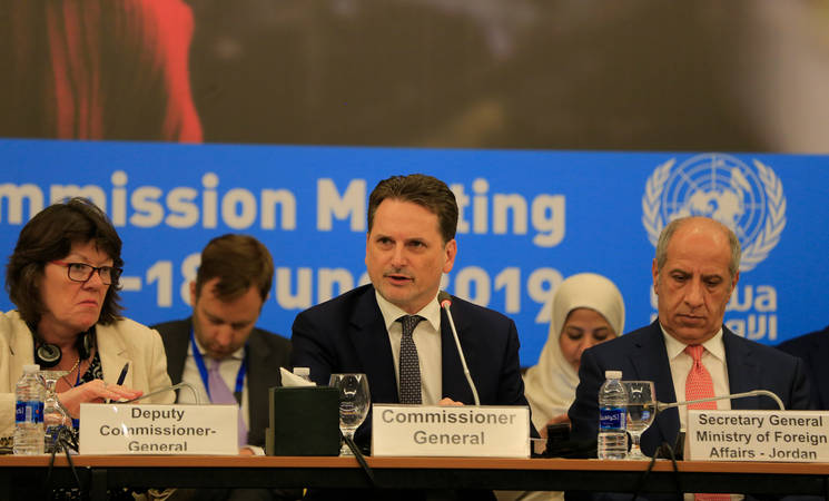 UNRWA Commissioner-General Pierre Krähenbühl (center) addresses the Advisory Commission Meeting on 17 June at the Dead Sea in Jordan. © 2019 UNRWA Photo by Marwan Baghdadi