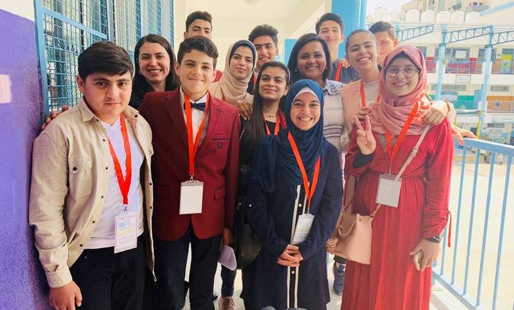 United Nations Secretary-General's Envoy on Youth, Ms. Jayathma Wickramanayake meets with UNRWA student parliamentarians in Gaza, oPt. © 2019 UNRWA Photo by Rula A