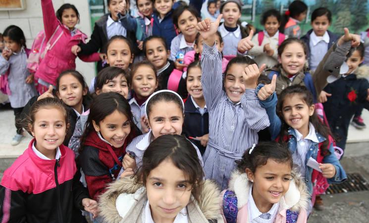 Students at the UNRWA Birzeit Girls' School, West Bank, 22 November, 2018. © 2018 UNRWA Photo by Marwan Baghdadi.