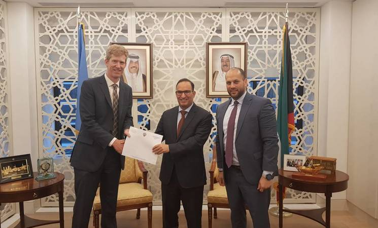 UNRWA representative James Dykstra meeting with the His Excellency Kuwait Ambassador Mansour Al-Otaibi and First Secretary Bashar Alduwaisan.