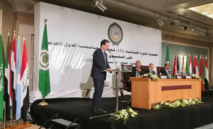 بيير كرينبول ، المفوض العام للأونروا ، يلقي كلمة في الجلسة 152 لمجلس وزراء الخارجية العرب في القاهرة. الحقوق محفوظة للأونروا ، 2019.