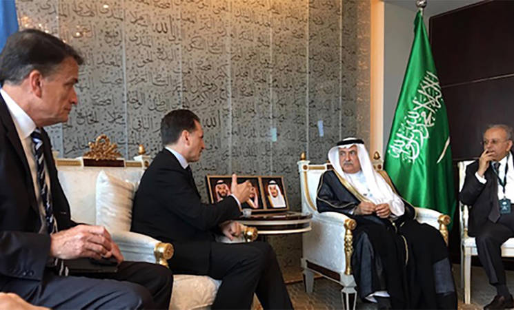 UNRWA Commissioner-General, Pierre Krähenbühl (2nd from left) met H.E. Mr Ibrahim bin Abdulaziz Al-Assaf (2nd from right), Foreign Minister of Saudi Arabia, in New York on 26 September 2019. © 2019 UNRWA Photo