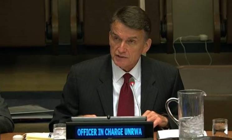 القائم بأعمال الأونروا, السيد كريستيان ساوندرز يلقي خطاب أمام اللجنة الخاصة بالسياسة وإنهاء الاستعمار (اللجنة الرابعة) في الجمعية العامة للأمم المتحدة. الصورة من ارشيف الأمم المتحدة 2019.