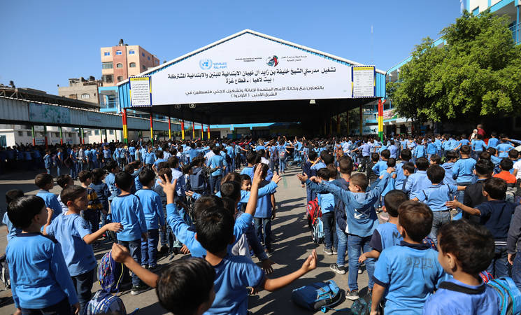 Students of Sheikh Khalifa Bin Zayed Al Nahyan Elementary Co-Educational School in northern Gaza   ©2019 UNRWA Photo by Ibrahim Abu Eshibeh