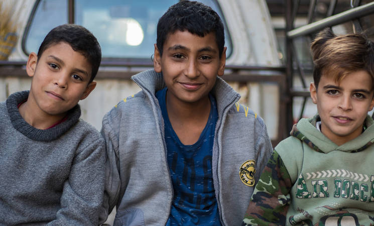 Palestine refugee children in al-Thyabiyeh, Rif Damascus, Syria. © 2018 UNRWA Photo by Baraa al-Alem