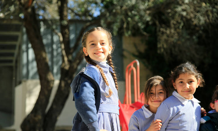 Students attending Jerusalem Basic Girls School. © 2019 UNRWA Photo by Marwan Baghdadi
