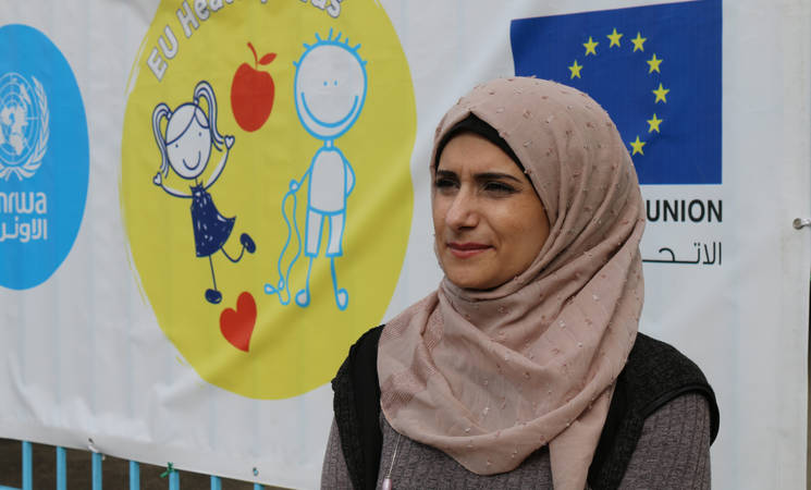 """We are doing a lot of activities with students about the importance of healthy food and personal hygiene and they have been putting it into practice at school and at home,"" says the school's health tutor, Ghada Zaidane.  © 2019 UNRWA Photo"