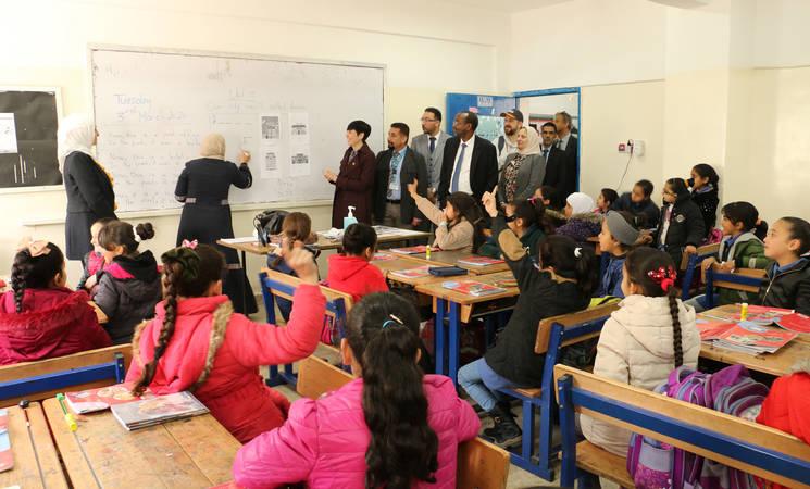H.E. Ms. Ine Eriksen Søreide, the Minister of Foreign Affairs of Norway visits the  UNRWA Amman New Camp Preparatory Girls' School in Jordan. © 2020 UNRWA photo by Daniah Al-Batayneh