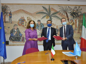 (From left) Ms. Cristina Natoli, Head of Office - Italian Agency for Development Cooperation,  Giuseppe Fedele, Consul General of Italy in Jerusalem and Marc Lassouaoui, UNRWA Chief of Donor Relations sign the contribution agreement in support of Palestine refugee health in Gaza. © 2020 UNRWA Photo