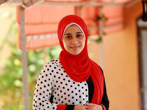 Nagham Al-Yazji, a 15-year-old Palestine refugee student from the UNRWA Beach Preparatory Girls' School B, won first prize in the international Messages of Peace Poetry Contest. © 2020 UNRWA Photo by Khalil Adwan