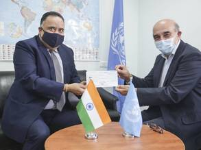(From left) Representative of India to State of Palestine H.E. Mr. Sunil Kumar and Mr. Sami Mshasha, Officer-in-Charge of the Department of External Relations and Communication and Director of Communication of UNRWA announce the Government of India's US$ 1 million contribution to UNRWA in support of Palestine refugees.
