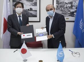 H.E. Ambassador Mr. MAGOSHI Masayuki from the Representative Office of Japan to the Palestinian Authority and Mr. Sami Mshasha, Officer-in-Charge of the Department of External Relations and Communication and Director of Communication of UNRWA sign a contribution agreement in support of Palestine refugees in Jerusalem. © 2020 UNRWA photo by Marwan Baghdadi