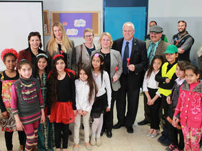 Sweden Consul General Ann-Sofie Nilsson (second from right) meets UNRWA school children in Shu'fat refugee camp on 9 March 2015 © 2015 UNRWA Photo by Alaa Ghosheh