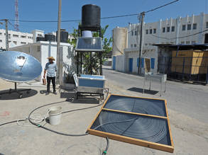 Samples of heating systems based on solar energy produced by students from the UNRWA Gaza Training Centre, August 2015. © 2015 UNRWA Photo by Tamer Hamam