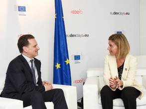 Pierre Krähenbühl, UNRWA Commissioner Commissioner-General, and Federica Mogherini, High Representative of the Union for Foreign Affairs and Security Policy and Vice-President of the European Commission. Photo by Jennifer Jacquemart Courtesy of the European Union.
