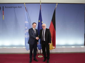During his three-day mission to Germany, UNRWA Commissioner-General Pierre Krähenbühl (left) met with the Federal Minister of Foreign Affairs, Dr. Frank-Walter Steinmeier (right), and several other high-level officials. Photo Courtesy of the German Federal Foreign Office