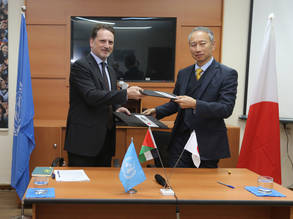 UNRWA Commissioner-General Pierre Krähenbühl (left) and the Japanese Ambassador for Palestinian Affairs and Representative of Japan to the Palestinian Authority, Takeshi Okubo (right), at the signing ceremony on 24 February 2017 for Japan's US$ 28.4 million contribution to UNRWA. © 2017 UNRWA Photo by Isabel de la Cruz