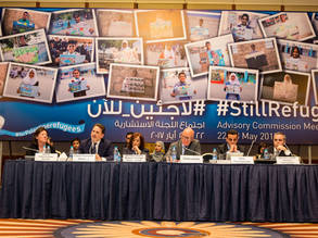 UNRWA Commissioner-General Pierre Krähenbühl (second from left) addresses member states' delegates at the opening session of the first biannual Advisory Commission Meeting of 2017. © 2017 UNRWA Photo by Marwan Baghdadi