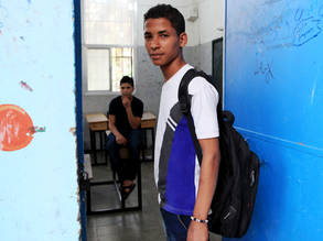 Mohammad, displaced from Yarmouk, attends support classes at the UNRWA Palestine School in Damascus. © 2017 UNRWA Photo by Taghrid Mohammad