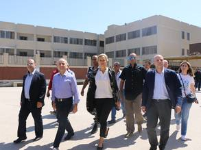 The Minister of State for Displaced Affairs, Mueen Merhebi, The United Nations Special Coordinator for Lebanon, Sigrid Kaag, and the Director of UNRWA Affairs in Lebanon, Claudio Cordone, and Abdelnasser Al Ayyi of the Lebanese-Palestinian Dialogue Committee visit Nahr el-Bared camp. © 2017 UNRWA Photo by Maysoun Mustafa