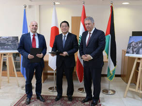 The Ambassador of Japan to Lebanon, H.E. Matahiro Yamaguchi, and the Director of UNRWA Affairs in Lebanon, Claudio Cordone, announced the signature of an agreement for a US$ 3 million contribution from the Government of Japan to the UNRWA, Lebanon, in the presence of the Palestinian Ambassador in Lebanon, Ashraf Dabbour. © 2017 UNRWA Photo by Tarek el-Salhani