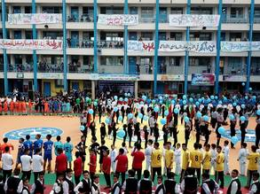 "A ceremony under the name ""Future Sports Pioneer"" organized by the UNRWA Education Programme at UNRWA's New Gaza Elementary Boys School © 2018 UNRWA Photo by Abdallah Al-Haj."