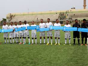"Under the slogan ""Dignity is Priceless"", the UNRWA Gaza Field Office organized a friendly football match between UNRWA local staff and Palestine refugee youth on 4 May at Al Durrah Stadium in Deir Al Balah, central Gaza.  © 2018 UNRWA Photo by Khalil Adwan."