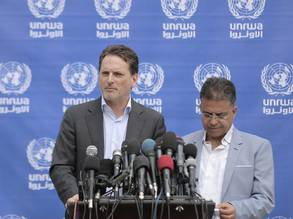"The Commissioner-General  a press conference, highlighting that ""the direct consequence of the number of injured and nature of wounds, has been to bring the health-care system in Gaza to a breaking point"" © 2018 UNRWA Photo by Mohammed Hinnawi ."