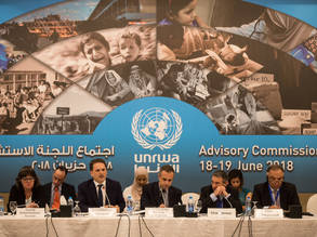 UNRWA Commissioner-General Pierre Krähenbühl (speaking) addresses representatives of host and donor countries at the opening session of UNRWA Advisory Commission (AdCom) held in Jordan on 18 June 2018. The AdCom members discussed the Agency's unprecedented financial crisis and state of services rendered to Palestine refugees. © 2018 UNRWA Photo by Marwan Baghdadi.