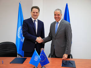 UNRWA Commissioner General Pierre Krähebühl (left) and EU Representative Ralph Tarraf (right) shake hands after signing the EU-UNRWA contribution agreement of EUR 82 million at UNRWA headquarters in East Jerusalem on 27 February 2019. © 2019 UNRWA Photo by Marwan Baghdadi