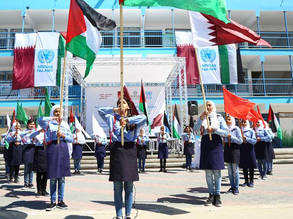 "A group photo for UNRWA students while participating in Al Fakhoora ceremony to commemorate the Agency's partnership with Al Fakhoora through the ""Support to the UNRWA education Programme in the Gaza Strip"" held in Jabalia Preparatory Girls' School ""B"" © 2019 UNRWA Photo by Khalil Adwan"