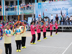 "UNRWA students participate in the ""Japan Day"" held at Khan Younis Preparatory Boys' School ""B"", southern Gaza, in solidarity with the people of Japan. © 2019 UNRWA Photo by Khalil Adwan"