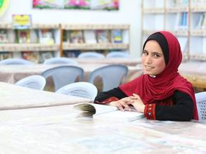 15-year-old Jameela Abu Jom'a, an UNRWA student from the Gaza Strip, wins Inspirational Messages of Peace Contest © 2019 UNRWA Photo by Khalil Adwan
