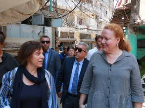 Director-General of the Monegasque Ministry of Foreign Affairs and Cooperation, Ms. Isabelle Rosabrunetto visiting Burj Barajneh refugee camp in Beirut, Lebanon accompanied by the Deputy Director of UNRWA Affairs in Lebanon, Ms. Daniela Leinen. © 2019 UNRWA Photo by Rabie Akel.
