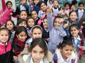 Students at the UNRWA Birzeit Girls' School, West Bank, 22 November, 2018. © 2018 UNRWA Photo by Marwan Baghdadi.