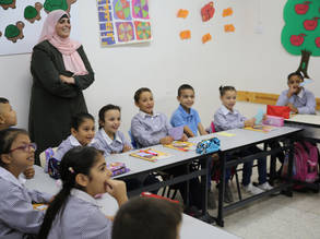 Students at the UNRWA Silwan Girls' School gather for during their first week of back to school. © 2019 UNRWA Photo by Marwan Baghdadi.