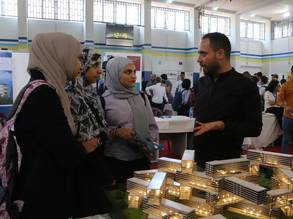 Students gather at the 8th UNRWA Academic vocational training fair in Beirut, Lebanon. © 2019 UNRWA Photo by Rabie Akel.
