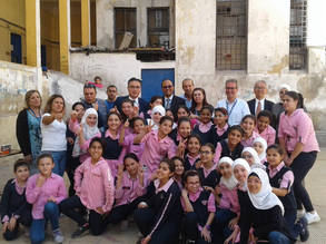 The Special Coordinator for Syria, Chargé d'Affaires of the Embassy of Japan in Syria, Mr. Futoshi Matsumoto, visits the UNRWA Palestine Girls' School for Basic Education in Alliance in Damascus.©2019UNRWA Photo by Hala Mukhles