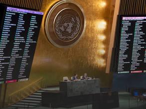 صوتت الجمعية العامة للأمم المتحدة يوم الثالث عشر من كانون الأول 2019 على تمديد مهام ولاية وكالة الأمم المتحدة لإغاثة وتشغيل لاجئي فلسطين في الشرق الأدنى (الأونروا) حتى عام 2023. اعتمد التقرير بأغلبية 165 صوتا مقابل 2 وامتناع 9 عن التصويت. صور الأمم المتحدة / إسكندر ديبي