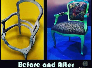 Before and after photos of furniture Rasha Yassine a young Palestine refugee has furnished in a successful small business she founded, Platfurn., © 2019 UNRWA Photo
