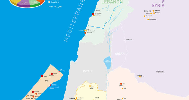 UNRWA FIELDS OF OPERATIONS MAP 2018